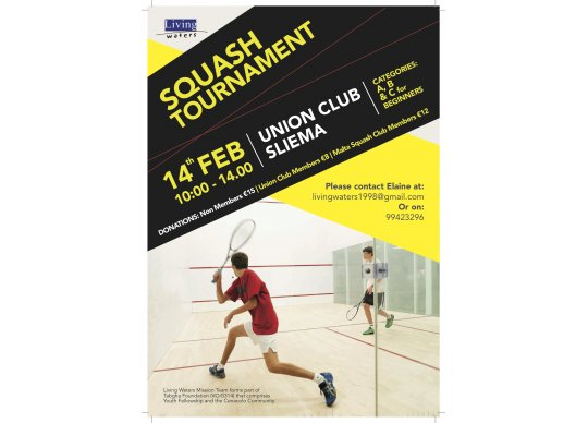 Squash Tournament In Aid Of Living Waters Mission Team At The Union