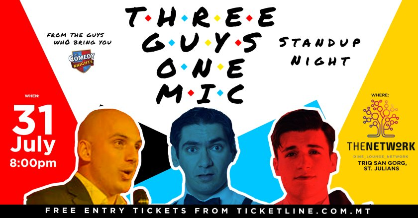 Three guys, one mic | Stand up comedy night in Malta, Theatre Malta, 31.07.2019 - 31.07.2019