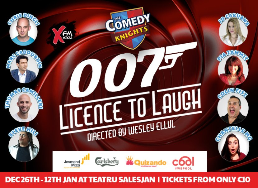 Comedy Knights 007: Licence To Laugh in Malta, Theatre Malta, 26.12.2019 - 12.01.2020