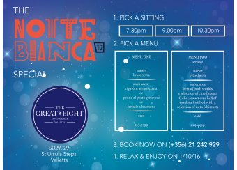 The Notte Bianca special at The Great Eight Bar in Malta, What's On Malta